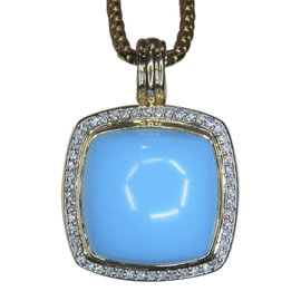 David Yurman 18K Yellow Gold with Albion Turquoise & Diamond Enhancer Pendant