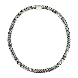 John Hardy Classic Chain 925 Sterling Silver & 18K White Gold with Diamond Collar Necklace