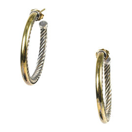 David Yurman Crossover Cable Sterling Silver & 18K Yellow Gold Hoop Earrings
