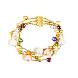 "Marco Bicego ""Paradise"" 18K Yellow Gold Multicolor Semi Precious Bead & Freshwater Cultured Pearl Bracelet"