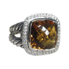 David Yurman Albion Classic 925 Sterling Silver with Citrine and Diamond Ring Size 7