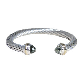 David Yurman 925 Sterling Silver and 14K Yellow Gold with Prasiolite Cuff Bracelet