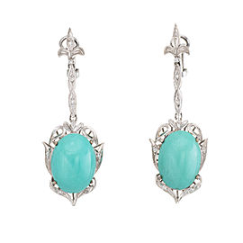 Fleur de Lis 18K White Gold with 42ct. Turquoise and 0.10ct. Diamond Dangle Earrings