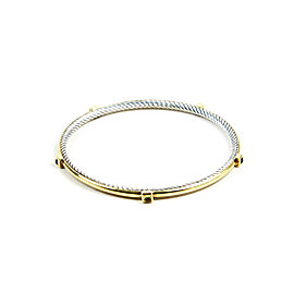 David Yurman Cable 18K Yellow Gold Sterling Silver Prasiolite Bangle Bracelet