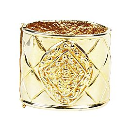 Chanel Gold Tone Hardware Vintage Quilted Cuff Bracelet