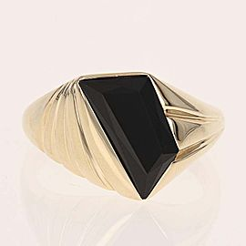 14K Yellow Gold Onyx Ring Size 10