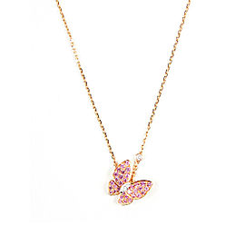 "Van Cleef & Arpels 18K Rose Gold Pink Sapphires & Diamond ""Two Butterfly Pendant"" Necklace"