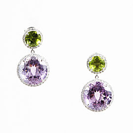 Dana Rebecca 14K White Gold Peridot Amethyst Diamond Drop Earrings