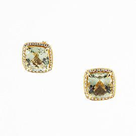 Dana Rebecca 14K Yellow Gold 7.25ctw. Green Amethyst & 0.39ctw. Diamond Earrings