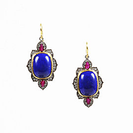 Arman Sarkisyan 22K Yellow Gold and Oxidized Silver with Ruby, Lapis Lazuli and Diamonds Earrings