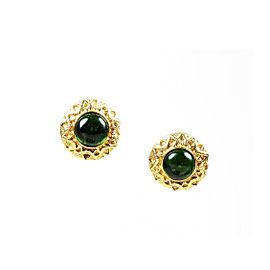 Chanel Gold Tone Gripoix Earrings