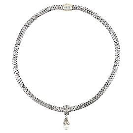 John Hardy Sterling Silver & 18K Yellow Gold with Cultured Pearl Pendant Wheat Chain Necklace
