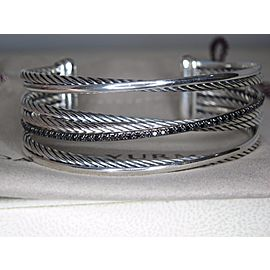 David Yurman Crossover Sterling Silver Black Diamond Cuff Bracelet