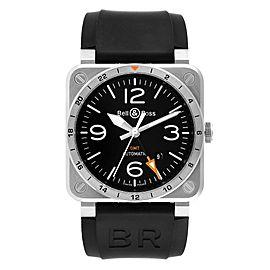 Bell & Ross Aviation GMT Black Dial Steel Mens Watch BR0393