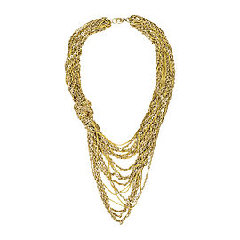 Chanel Gold Tone Nylon Multi Strand Knotted Necklace