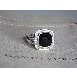 David Yurman Albion Sterling Silver Onyx and Diamond Ring Size 6.5