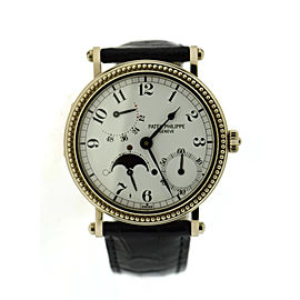 Patek Philippe Power Reserve Moon Hobnail Bezel 18K White Gold Watch 5015G
