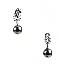 Mikimoto 18K White Gold, Tahitian Cultured Pearl & Pave Diamond Drop Earrings