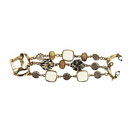 Oscar de la Renta Gold Tone Resin & Wood Bracelet