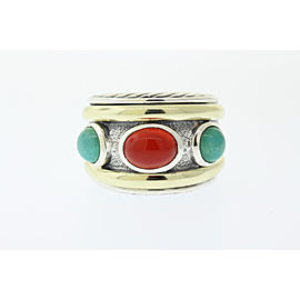 David Yurman 14K Yellow Gold, Sterling Silver Carnelian, Turquoise Ring Size 6.5