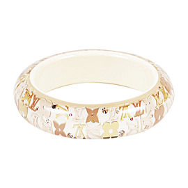 Louis Vuitton Gold Tone Flower Bangle Bracelet