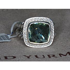 David Yurman Albion Sterling Silver Green Amethyst (Prasiolite) Quartz Diamond Ring Size 6