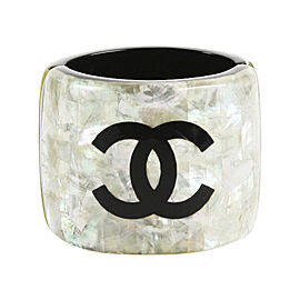 Chanel Cream & Black Resin Bangle Bracelet