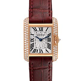 Cartier Tank Anglaise Rose Gold Silver Dial Diamond Ladies Watch