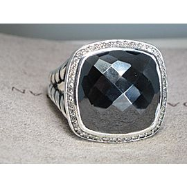 David Yurman Albion Sterling Silver Hematite Diamond Ring Size 9