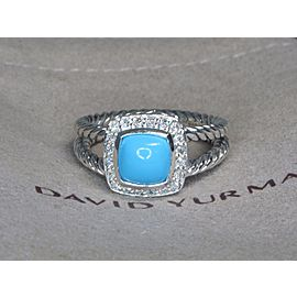 David Yurman Albion Sterling Silver Turquoise Diamond Ring Size 6.5