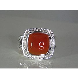 David Yurman Albion Sterling Silver Carnelian Diamond Ring Size 5
