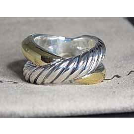 David Yurman Crossover Sterling Silver and 18K Yellow Gold Ring Size 6