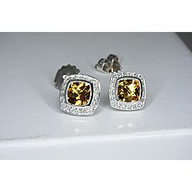 David Yurman Albion Sterling Silver Citrine Diamond Earrings