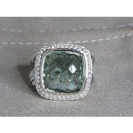 David Yurman Albion Sterling Silver Green Amethyst Quartz Diamond Ring Size 7