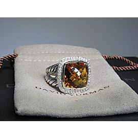 David Yurman Sterling Silver Citrine and Diamond Ring Size 7