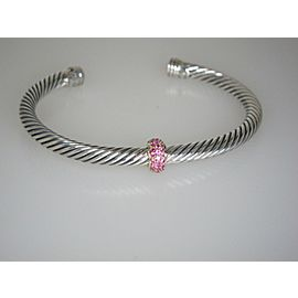 David Yurman Sterling Silver and 18K Rose Gold Pink Sapphire Cuff Bracelet