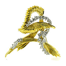 Henry Dunay Diamond 18K Yellow Gold Pin Brooch