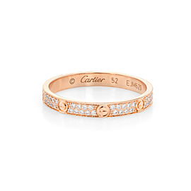 Cartier Love Ring 2 Rows Diamond 18k Rose Gold SM Size 6