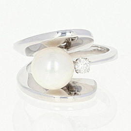 14K White Gold Cultured Pearl, Diamond Ring Size 7.75