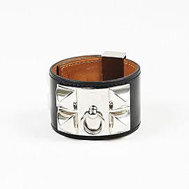 "Hermes Palladium Plated Hardware with Leather ""Collier de Chien"" Bracelet"