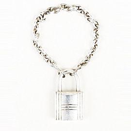 Hermes Sterling Silver Lock Charm Bracelet