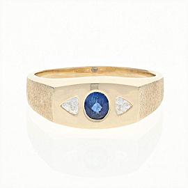 14K Yellow Gold Sapphire, Diamond Ring Size 10