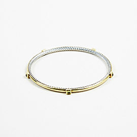 "David Yurman 925 Sterling Silver and 18K Yellow Gold with Prasiolite ""Inside Station Cable"" Bangle Bracelet"