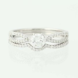14K White Gold Diamond Wedding Ring Size 6.75