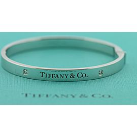 Tiffany & Co Diamond Hinged Bangle 18K White Gold Bracelet Medium