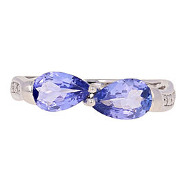 18K White Gold Tanzanite, Diamond Ring Size 6.75