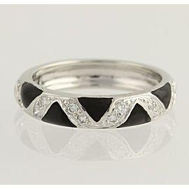 Hidalgo 18K White Gold Enamel Diamond Ring Size 6.25