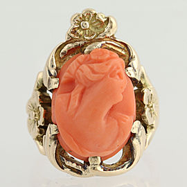 10K Yellow Gold Coral Ring Size 4