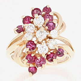 14K Yellow Gold Ruby, Diamond Ring Size 3.25