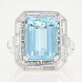 Platinum Aquamarine, Diamond Ring Size 4.75